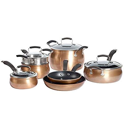 Epicurious Aluminum Nonstick Cookware Set in Copper