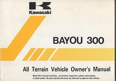 1996 Kawasaki Atv 4 Wheeler Bayou 300 Owners Manual New (105) front-399957
