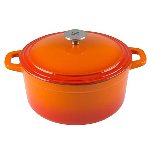 Zelancio Cookware 6 Quart Cast Iron Enamel Covered Dutch Oven Cooking Dish with Self-Basting Lid (Tangerine Orange)