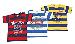 Romano Boy's Round Neck Multi-Coloured Cotton T-shirt (Pack of 3) (6-7 Years,...