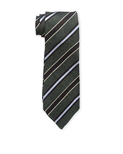 Kiton Men's Striped Tie, Green/Brown