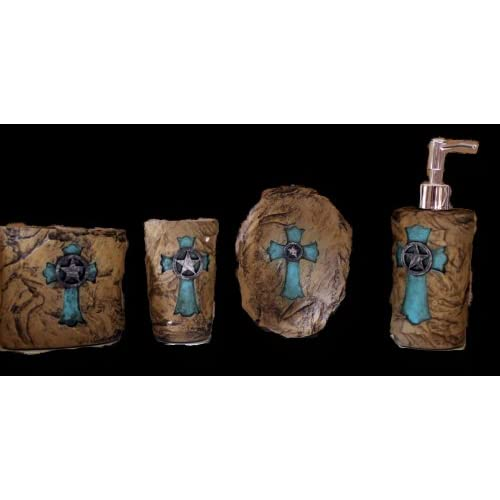 Western rustic turquoise cross on stone for Turquoise bathroom accessories sets