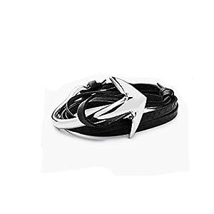 Braided Leather Wrap Leather Charm Rope Bracelet Vintage Bangle Wristband Bracelet Wrist Cuff (Anchor Rope)