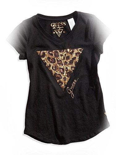 Guess Kids Girls Big Girl Leopard Logo V-Neck Tee (7-16), Black (16)
