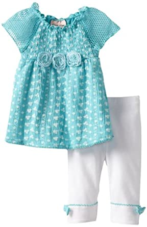 Little Lass Baby-Girls Infant 2 Piece Capri Set with Roses, Blue, 24 Months