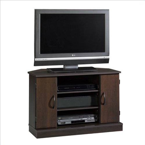 Sauder Beginnings Corner Tv Stand In Cinnamon Cherry back-1016917