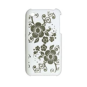 Flower Pattern White Rubberized Plastic Back Case for iPhone 3G 3GS