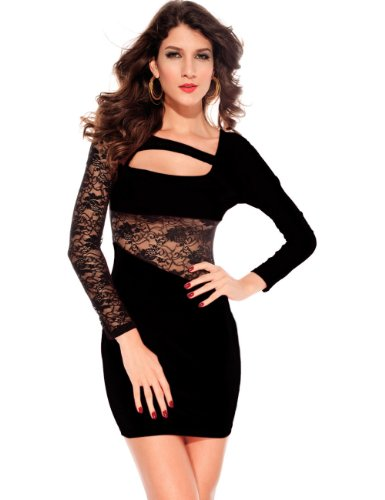 Feichen New Sexy One-Shoulder-Side Cut Out Maxi-Kleid Clubwear Gogo