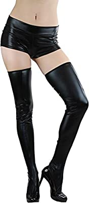 ToBeInStye Women's Leatheresque Cut Out Backseam Thigh High Tights