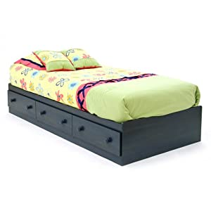 """South Shore Furniture, Summer Breeze Collection, Twin Mates Bed 39"""", Blueberry"""