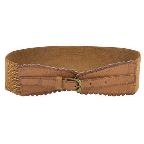 Woman Single Pin Buckle Adjustable Faux Leather Elastic Waistband Cinch Belt Brown