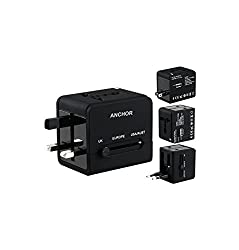 Multifunctional 2.1A/1.0A Dual-port USB Travel Wall Charger Adaptor with US/EU/UK Plugs (Black) (Universal plug adapter for 150 Countries)
