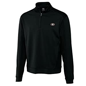 NCAA Mens Georgia Bulldogs Black Drytec Edge Half Zip Jacket by Cutter & Buck