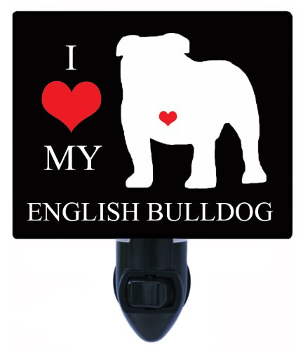 Night Light - I Heart My English Bulldog - Love - Dog Led Night Light