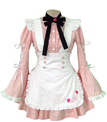TOMSUIT Pink Trumpet Sleeve Apron Maid Cosplay Costume