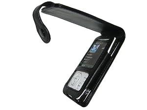 iGadgitz Genuine Leather Case with Screen Protector for Sony Walkman Video NWZ-A815, NWZ-A816, NWZ-A818, NWZA815, NWZA816 & NWZA818 - Black