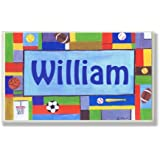 The Kids Room Contemporary Sports Personalized Rectangle Plaque, William