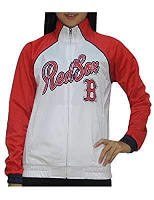 MLB BOSTON RED SOX Womens Zip-Up Warm Glitter Track Jacket