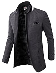 H2H Mens Fashion Slim Fit Blazer Jacket With Snap Collar GRAY US M/Asia L (KMOBL01)