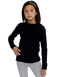 American Apparel Kids Youth Baby Thermal Long Sleeve T Size 12 Years Black