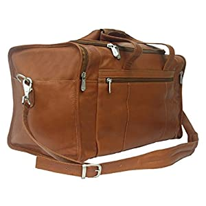 Piel Leather Travel Duffel with Side Pockets by Piel Leather