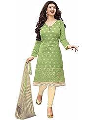 Saryu Latest Desginer Mehdi &Green Color Chanderi Cotton Unstitch Salwar Suit