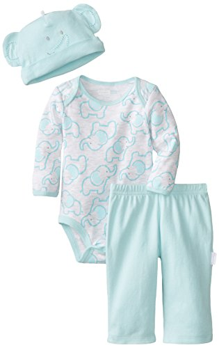 Vitamins Baby Baby-Boys Newborn Little Elephant 3 Piece Creeper Pant Set, Blue, 6 Months