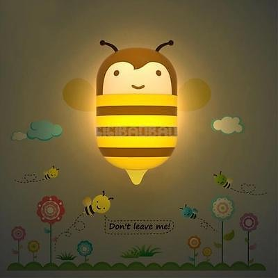 Gib Bee Style LED Light Control Wall Lamp Bedroom Wall Sticker Decal 3d Effect