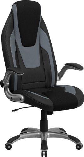 Flash Furniture CH-CX0326H02-GG High Back Black/Gray Vinyl Executive Office Chair with Black Mesh Insets/Flip Up Arms
