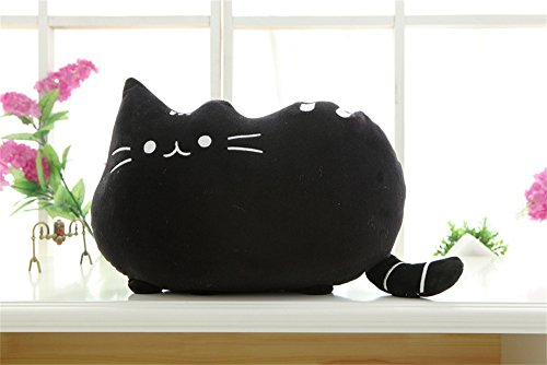 MABAY Big Cat Throw Pillow Sofa Decorative Cushion Soft Plush Toy Doll 1PC (Black)