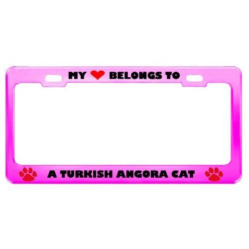 A Turkish Angora Cat Pet Pink Metal License Plate Frame