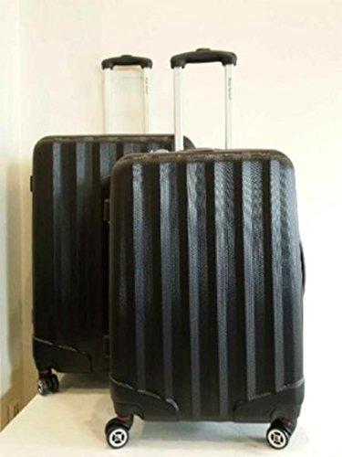 lot de 2 valises-chariots 8 roues - extensible - entièrement doublé - serrure à codes- système trolley intérieur Noir
