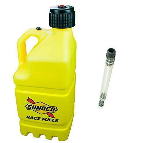 sunoco-race-fuels-5-gallon-racing-utility-jug-with-deluxe-filler-hose-kit-yellow-made-in-the-usa-by-