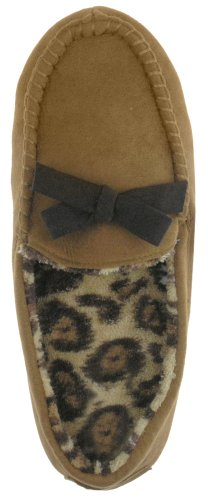 Image of Capelli New York Faux Suede Moccasin Slipper W/ Leopard Lining Ladies Slipper (B004AHP3KQ)