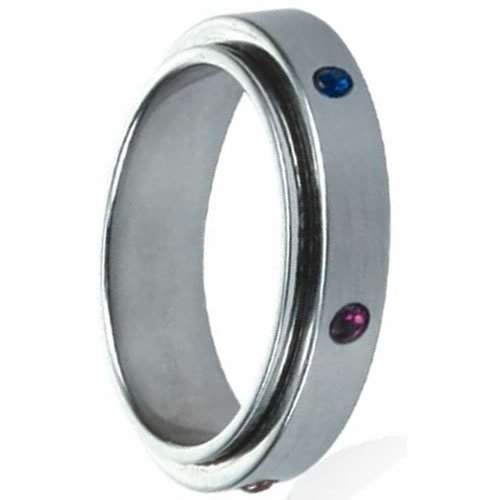 Spinning Rainbow Ring with Colored Stones around the Spinner Ring, 7.5