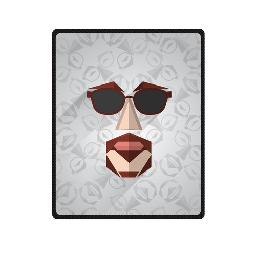 Personalized Fashion Abstract Man Face With Glasses And Mustache Picture Fleece Blanket 40 X 50 back-1073626