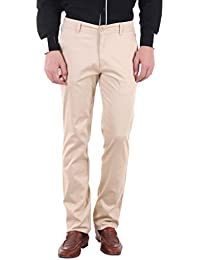 Routeen Men's Labla Cream Slim Fit Cotton Chinos Trousers Casual Pants