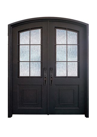 WI-96B Pre-hung wrought iron security entry doors with multi locking system