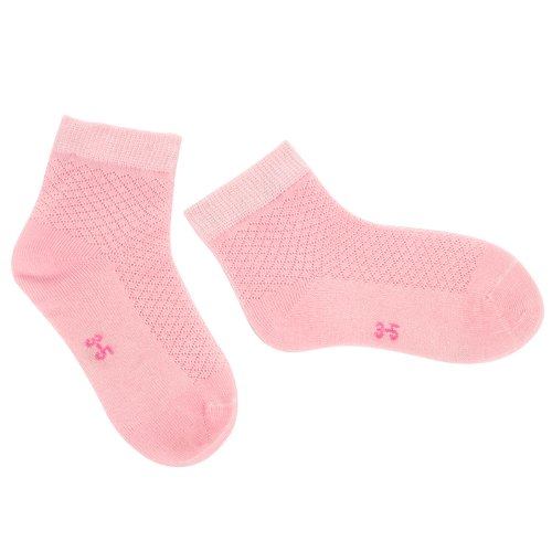 Dele Bamboo Fiber Boneless Stitched Children And Infant Socks (Summer And Spring) (1-3 Years Old, Pink) front-570509