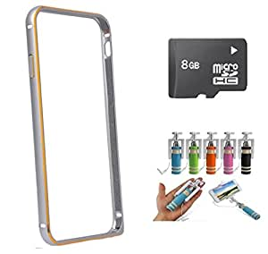CUBE Silver Bumper for Samsung Galaxy One5 With Selfie Stick & 8GB Memory Card