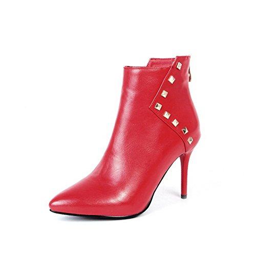 AllhqFashion Donna Scarpe A Punta Puro Bassa Altezza Tacco Alto Stivali con Rivetto, Rosso, 37