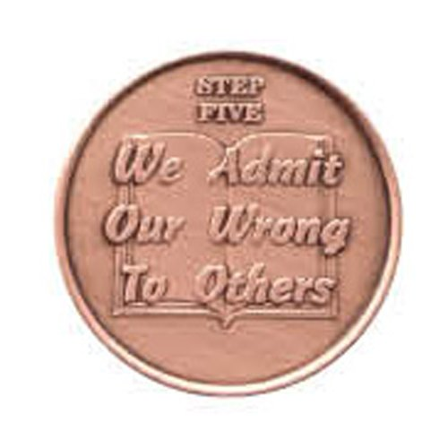 Step 5 Copper Commemorative AA (Alcoholics Anonymous) - Sober / Sobriety / Recovery / Medallion / Coin / Chip