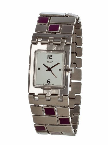 Swatch Originals Purple Quadrilita Brushed Silver Dial Women&#8217;s watch #SUBM119G