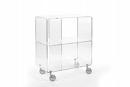 Mueble contenedor multiuso realizado en metacrilato, disponible en los colores neutro y con varios compartimientos