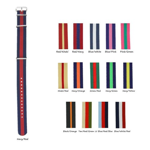 Military-Style Nylon Watch Strap - 18Mm - Choose From 15 Different Stripe Colors