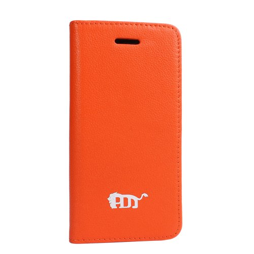 Great Price Pdncase Genuine Leather Cellphone Case Book Style Lychee Pattern Compatible for iPhone 5 Color Orange