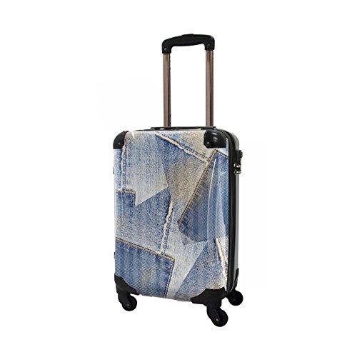 CARART(キャラート) アート スーツケース ポップニズム デニム (コラージュブルー1 ) ジッパー4輪 機内持込 CRA02-025C