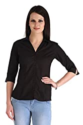 Zaire Women's Elegant Solid Color 3/4 Sleeves Cotton Shirt (001-3/4TH,Black,XL)