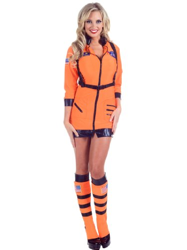 Sexy NASA Astronaut Dress Space Suit Leggings Orange Womens Theatrical Costume