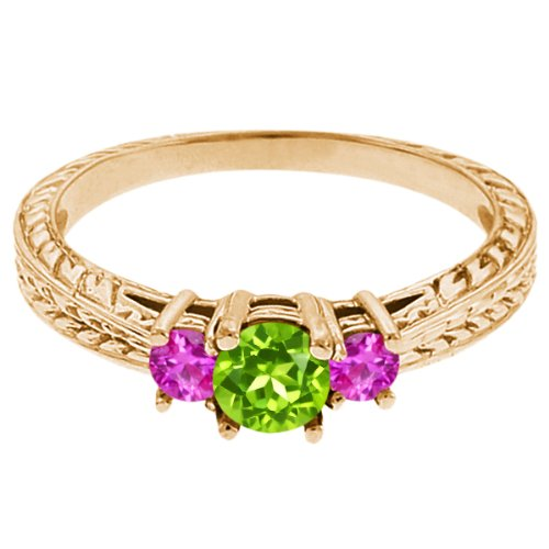0.56 Ct Round Green Peridot Pink Sapphire 14K Yellow Gold 3-Stone Ring
